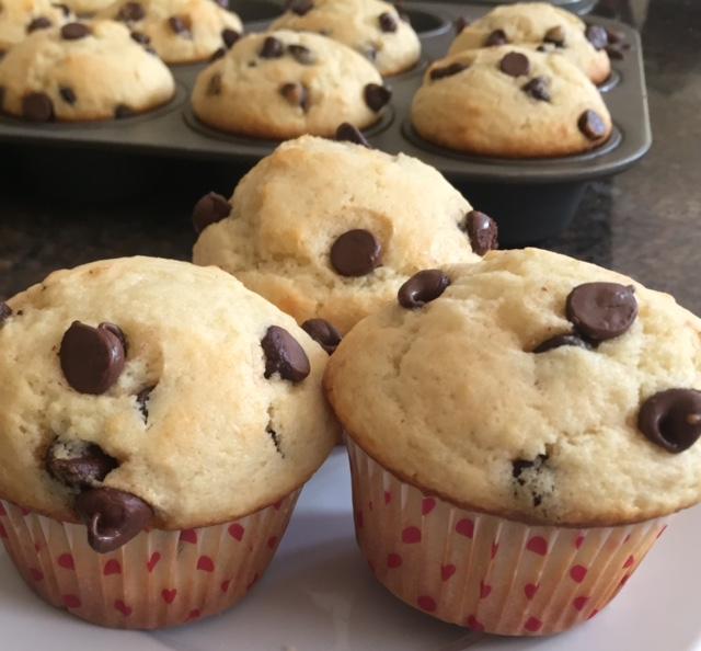 three choc chip muffins